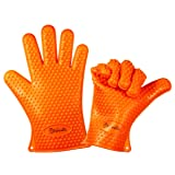 Vervetie Barbecue Gloves Heat Resistant Silicone Cooking Gloves for Grill BBQ - Oven Mitts Potholder for Kitchen, Baking (Color: Orange)