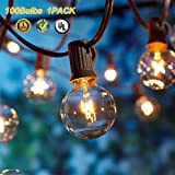 Upook Globe Outdoor String Lights G40 UL Listed Vintage Edison Bulbs 100Ft Commercial Grade Gazebo Hanging Lights Ambience for Patio Garden Porch Backyard Decorative Wedding Parties Kitchen Decor (Tamaño: 100Ft)