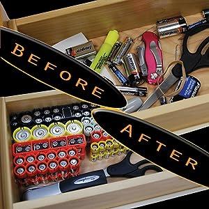 Storacell by Powerpax SlimLine D Battery Caddy, Orange, Holds 4 Batteries (Color: Orange, Tamaño: Holds 4 Batteries)