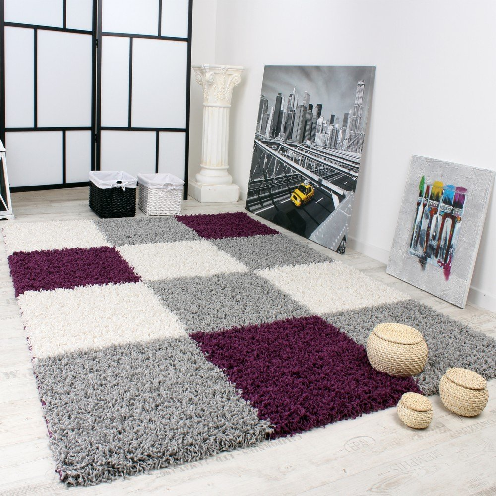 Shaggy Carpet High Pile Long Pile Chequered in Purple Black White, Size 190x280 cm       Customer review and more description