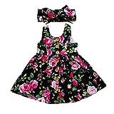 GRNSHTS Baby Girls Flower Print Buttons Ruffles Dress with Headband (90 cm/12-18 Months, Black) (Color: Black, Tamaño: 90 cm/12-18 Months)