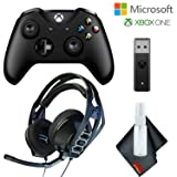 Microsoft Xbox Wireless Controller (Black) + Wireless Adapter for Windows 10 with RIG 500 HX Headset for Xbox One [video game] [video game] [video game] (Color: Black, Tamaño: RIG 500 HX Headset Package)