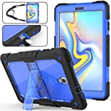 Galaxy Tab A 10.5 T590/T595 Case, Full-Body [Heavy Duty] & [Shock Proof] Hybrid Armor Protective Case with Kickstand & Portable Shoulder Strap for Samsung 10.5 Inch Tablet SM-T590/T595 (Blue+Black) (Color: Blue)