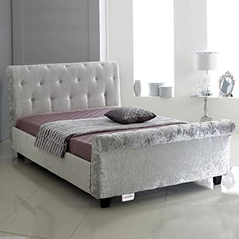 Hf4you Bucky Crushed Velvet Sleigh Bed - 5FT Kingsize - Silver - Orthopaedic Sprung Mattress