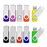 Aiibe 10 Pack 64 GB USB Flash Drives Thumb Drive Jump Drives 64GB 2.0 Flash Drive Bulk (10 Mixed Colors: Black Blue Red Green Orange White Yellow Pink Purple Silver) (Tamaño: 64GB)