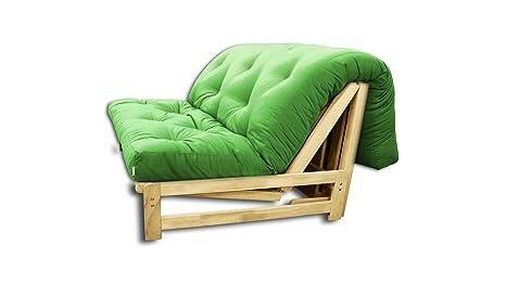 Canapé lit Fold-Bed, futon verte pomme, 140x105x30 cm