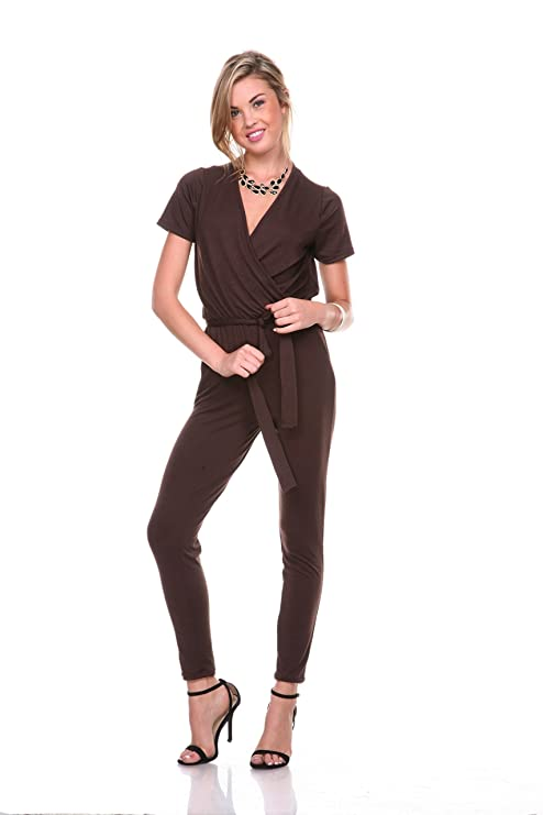 Stanzino® Women's V neck Short Sleeve Elastic Waist Jumpsuit