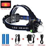 LED Headlamp Flashlight Kit, ANNAN 2000-Lumen Super Bright Headlight with Zoomable Head, Red Safety Light,4 Modes, Waterproof Light for Camping, Biking, 2 Rechargeable Lithium Batteries Included (Color: Headlamp 1 LED, Tamaño: portable, detachable, waist lamp, lamp)