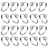 Whaline 36 Pcs Silver Diamond Engagement Rings for Wedding Table Decorations, Party Supply, Favor Accents, Cupcake Toppers (36 Packs) (Color: 36 Packs)