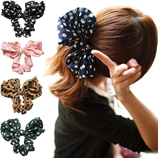 Polytree 5pcs Cute Girls Women's Big Polka Dot Rabbit Ear Hair Bow Tie Bands Ponytail Holder