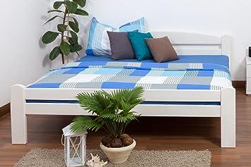 "Bett ""Easy Sleep"" K4, 180 x 200 cm Buche Vollholz massiv weiß lackiert"