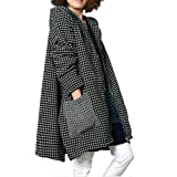 ddd3254d Tribear Women's Winter Checkered Hooded Loose Parka Jacket With Pockets  Medium Black
