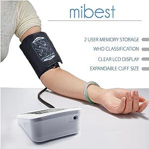 MIBEST Digital Blood Pressure Monitor - BP Cuff Meter with Display -Standard Size Blood Pressure Machine 9.4-13.4 - Blood Pressure Tester with C.E. FDA Certificates - Blood Pressure Gauge with Memory (Color: Non-talking, Tamaño: medium)