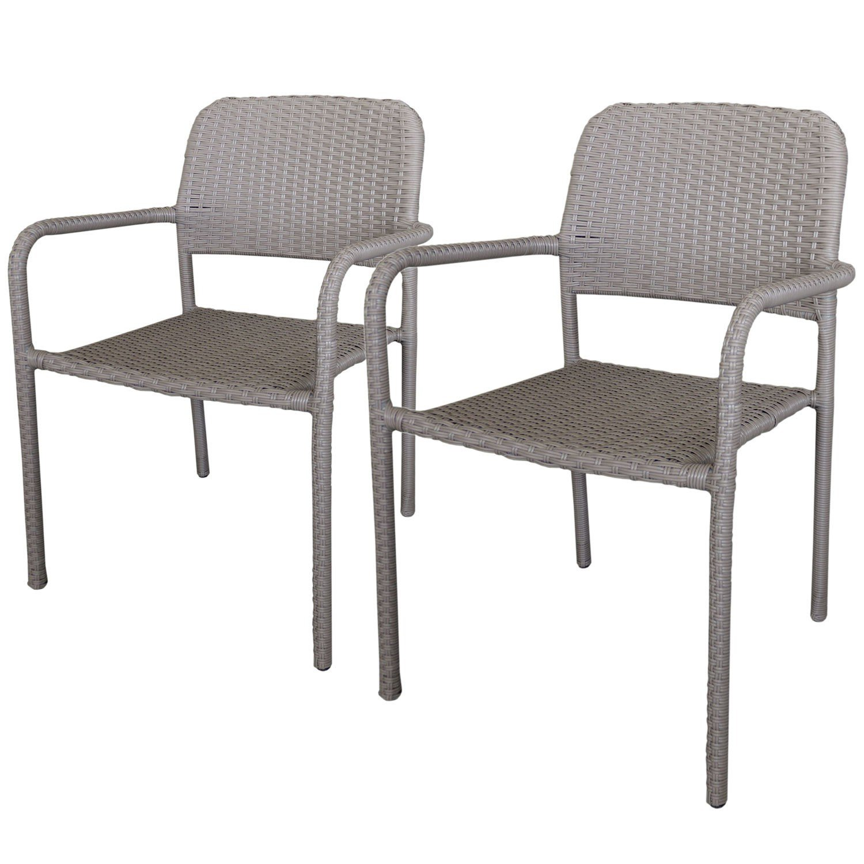 2 Stück Stapelstuhl Rattanstuhl – Gartenstuhl Set stapelbar mit Polyrattanbespannung in Taupe – Gartensessel Gartensitzmöbel online kaufen
