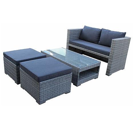 Lounge Set FIORINO, hochwertiges Polyrattan, Farbe: grau bicolor, wetterfest