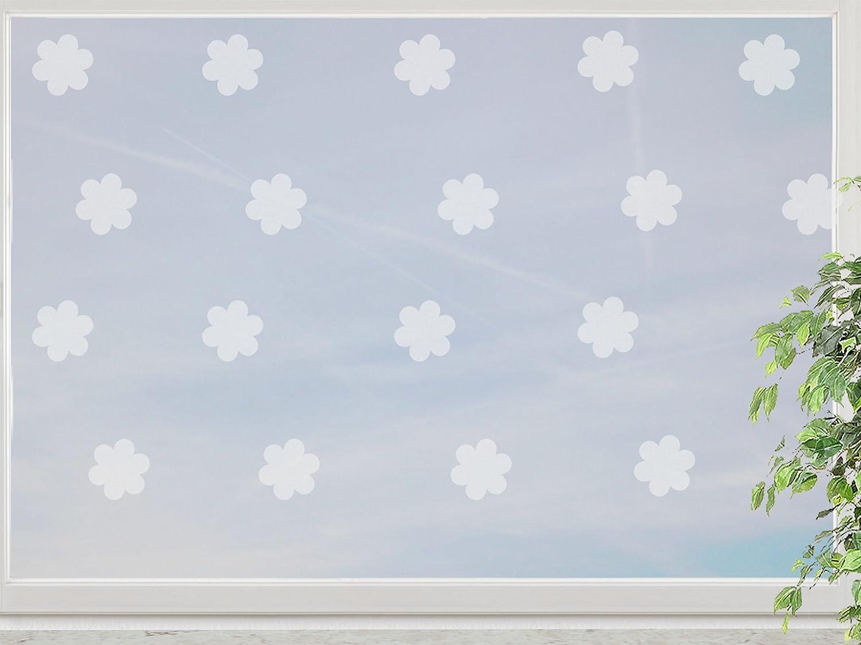 wandfabrik – Fenstersticker Blumen im Polka Dot Style 24 Stk – frosty – 798 – (Xt) jetzt bestellen