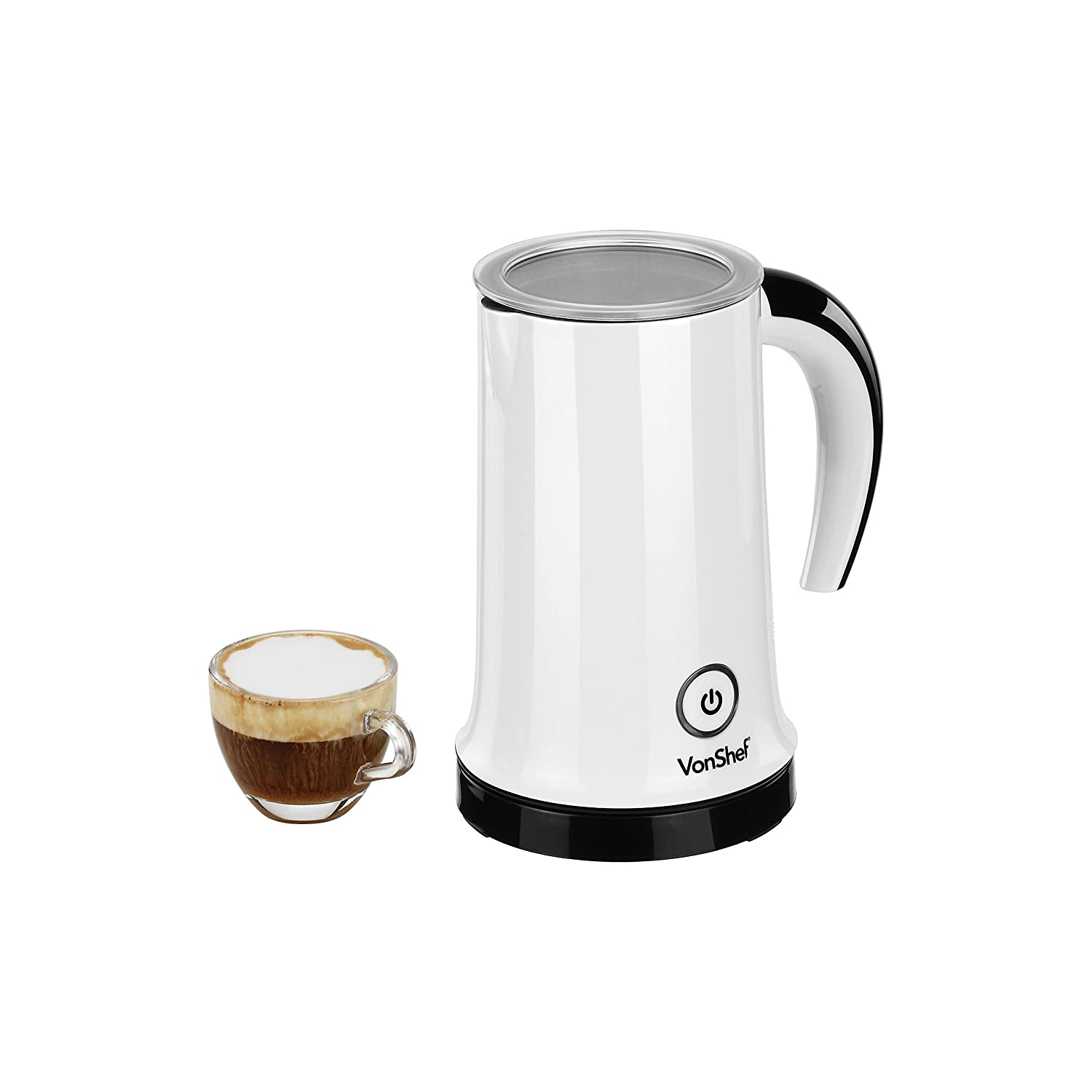 VonShef Automatic Electric Milk Frother and Heater Carafe - Stylish White