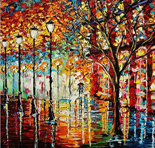 santin art rain modern canvas art wall decor abstract oil painting wall art wall decor home decorations framed and ready to hang - Home Decor Wall Hangings