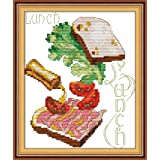 Cross Stitch Stamped Kits Pre-Printed Cross-Stitching Starter Patterns for Beginner Kids or Adults, Embroidery Needlepoint Kits The Lunch Pattern for Dining Room Wall Decor (Color: Stamped 6.7×8.4inch, Tamaño: 6.7×8.4inch)