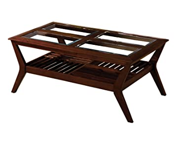 Furniture of America Vedison Transitional Glass-Top Coffee Table, Dark Cherry
