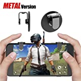 Lanyi 65SW PUBG Mobile Game Controller Metal, Sensitive Shoot and Aim Buttons L1R1 for Knives Out/PUBG/Rules of Survival, 1 Pair Survival Game Controller for 4.5-6.5inch Android IOS Phones (Color: Black-grey)