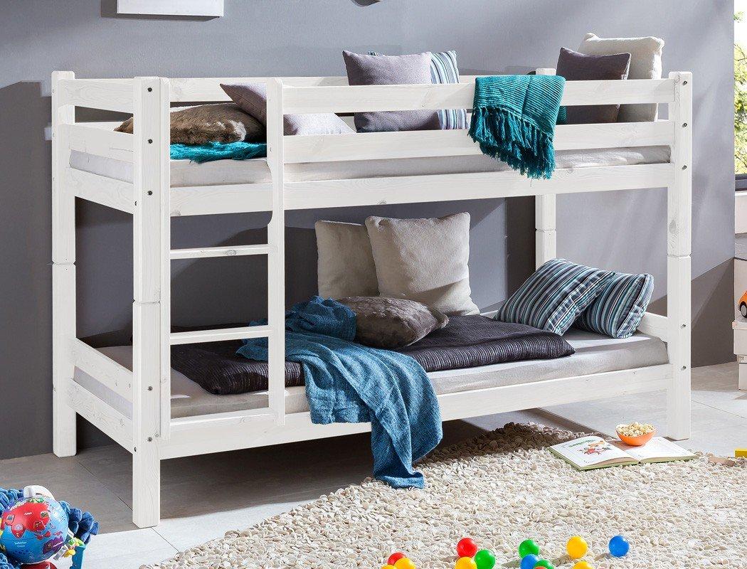 Etagenbett Kilian 90×200 Kiefer weiß lasiert Massivholz Kinderbett Bett Stockbett Kinderzimmer, Ausführung:Pfostenstärke 45 mm günstig kaufen