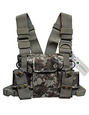 Lewong Universal Hands Free Chest Harness Bag Holster for Two Way Radio (Rescue Essentials) (Camouflage) (Color: Camouflage)