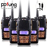 Baofeng Pofung 5PCS UV-6R UHF/VHF Dual-Band Dual Display 136-174/400-520MHz High Power 5W/1W Two-Way radio Walkie Talkie Transceiver with Programming Cable