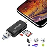 geekgo SD Card Reader,Micro SD TF USB Memory Card Reader Trail Game Camera Adapter Viewer for iPhone iPad iOS Android Mac - Supports Micro USB OTG 3 in 1 (Black) (Color: Black)
