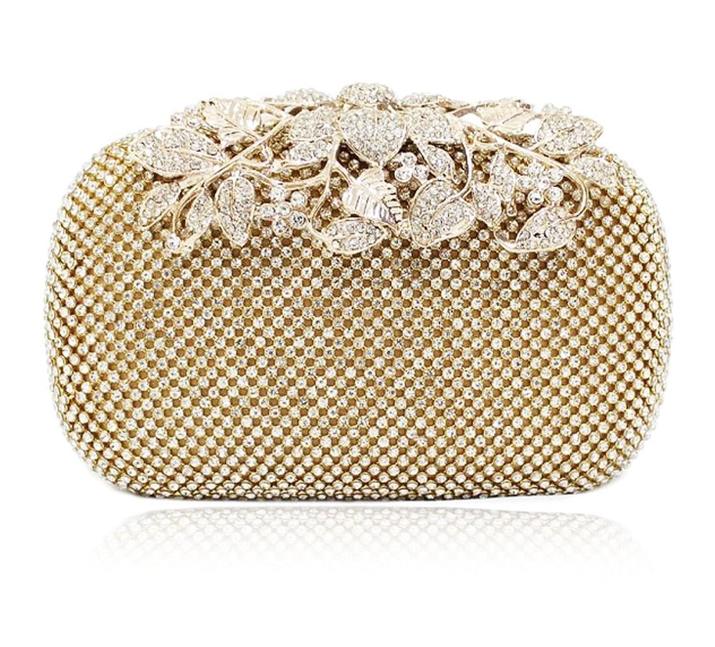結婚式 クラッチバッグ 高級 花がら リーフモチーフ パーティバッグ 2次会 結婚式 ショルダーバッグ ハンドバッグ ラインストーン バッグの画像