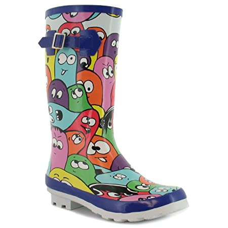 Childrens Multi Wellington Boots With Funky Jelly Bean Design Print. - Multi - UK 13-5