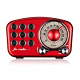 Vintage Radio Retro Bluetooth Speaker - Mifine FM Radio with Old Fashioned Classic Style, Strong Bass Enhancement, Loud Volume, Supports Bluetooth 4.2 AUX TF Card MP3 Player (Red) (Color: Red)