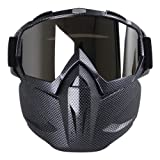 KOBWA Motorcycle Goggles Mask, Windproof Motorcycle Goggles with Mask, Protect Padding Helmet Sunglasses for Skiing, Riding, Outdoor Activities (Carbon Fiber) (Color: Carbon Fiber)
