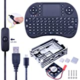 Kuman 6 in 1 Basic Starter Kit for Raspberry Pi Zero and Zero W + Acrylic Black Case+20Pin GPIO Header + Micro USB Cable with On/Off Switch (Kit for Raspberry Pi 3 2 B and Pi B+) (Color: Kit for Raspberry Pi 3 2 B and Pi B+)
