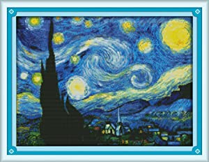 Joy Sunday Cross Stitch Kits Sweing Patterns Starry Night of Van Gogh 11CT Stamped DMC Printed Fabric Cross-Stitch Hand Embroidery Kit 23'' x18'' (Color: Starry Night of Van Gogh)