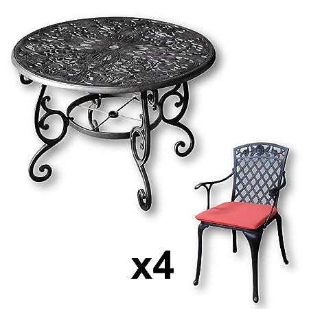 Lazy Susan - FLORA 103 cm Runder Gartentisch mit 4 Stuhlen - Gartenmöbel Set aus Metall, Antik Bronze (ROSE Stuhle, Terracotta Kissen)