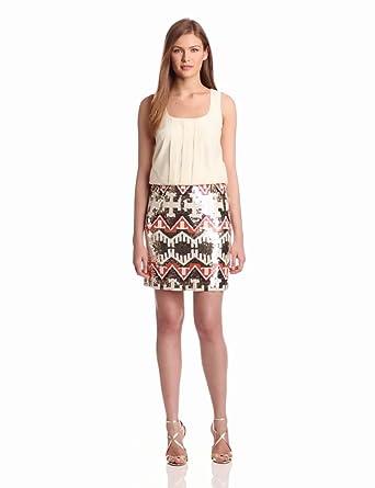 Jessica Simpson Women's Sequin Mini Dress, Cream, 2
