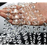 16.5 Feet Clear Crystal Beads Clear Chandelier Bead Lamp Chain for Wedding Party Tree Garlands Decoration, DIY Jewelry Making,and Other DIY Craft Projects (Color: Clear)