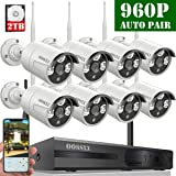 HD 1080P 8-Channel OOSSXX Wireless Security Camera System,8Pcs 960P(1.3 Megapixel) Wireless Indoor/Outdoor IR Bullet IP Cameras,P2P,App, HDMI Cord &2TB HDD Pre-Install (Color: HD 8 Channel 1080P System+ 8Pcs 960P Cameras + 2TB HDD)