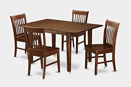 East West Furniture MLNO5-MAH-W 5-Piece Kitchen Nook Dining Table Set