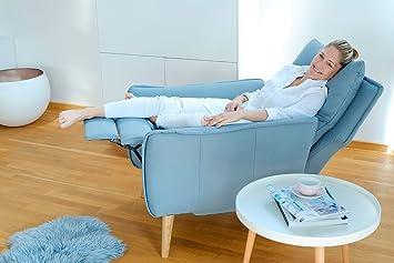 Relaxsessel Fernsehsessel Ruhesessel TV-Sessel Stuhl Relaxstuhl Liege Sessel mit verstellbarer Ruckenlehne und ausklappbarem Fussteil passend zur kompletten Wohnlandschaft im Landhausstil mit Fussen aus Eiche und Bezug aus hochwertigem Stoff