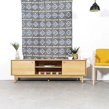 Mueble TV madera maciza vintage, 2puertas, 2secciones) | 2422–25–2