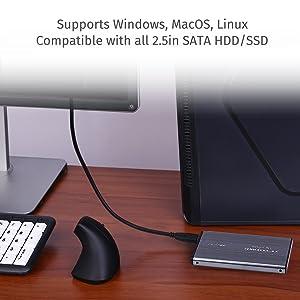 Estuche de disco duro 2.5 HDE SuperSpeed USB 3.0 SATA con capacidad máxima de 500 GB HDD.