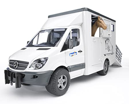Bruder - 2533 - Construction et Maquette - Camion Transport animal Mercedes Benz blanc avec un Cheval