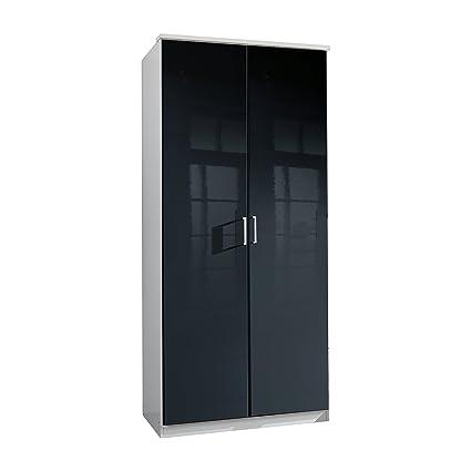 Wimex 235202 Clack Armoire 2 Portes Battantes Bois Blanc/Laqué Noir 58 x 90 x 198 cm