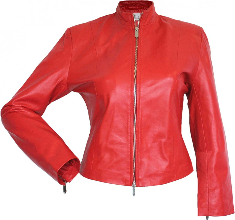 Damen Lederjacke Trend Fashion echtleder Jacke aus Lammnappa Leder Rot jetzt bestellen