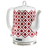 Electric Ceramic Kettle, Blue Aztec Design 1.2L - Red