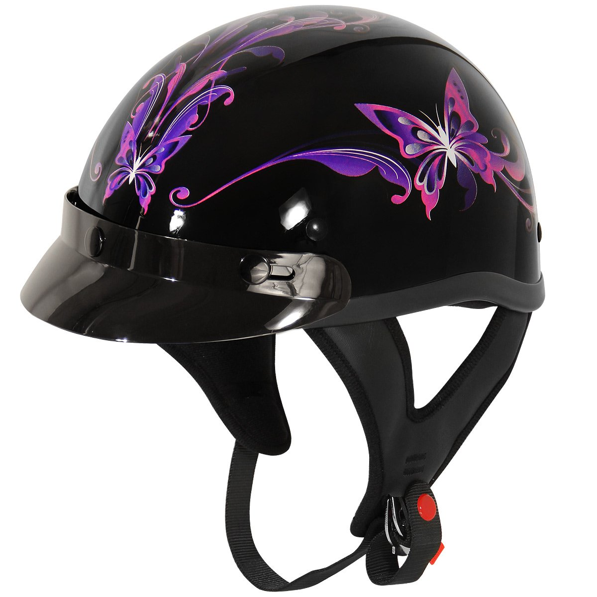 Outlaw T-70 Purple Butterfly Glossy Motorcycle Half Helmet immortal outlaw