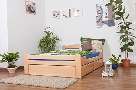 "Massivholzbett / Funktionsbett ""Easy Sleep"" K4, inkl. 2 Schubladen und 1 Abdeckblende, 140 x 200 cm Buche Vollholz massiv Natur"
