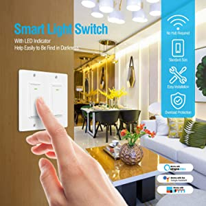 Alexa Smart Light Switch - Wifi Wall Switch, Remote Control Light Switches for Google Home Assistant Amazon Alexa and IFTTT, No Hub Required, Voice Control (2 Gang) (Color: 2 Gang)